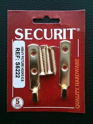 Heavy Duty Picture / Mirror Hooks 60mm Securit Brass Inc Screws 2 Pack