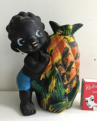 black boy ceramic money box vintage with pineapple retro souvenir