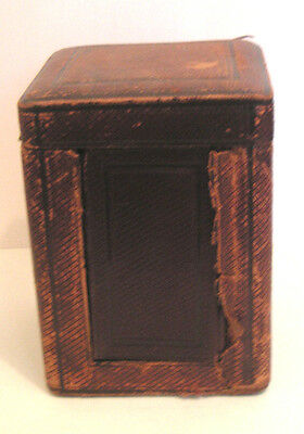 "Late 19th Antique Carriage Clock Case Leather for Timepiece Carriage Clock 5.5""H"