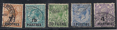 British Levant 5 Old Stamps Overprint