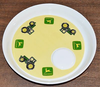 "JOHN DEERE GIBSON Yellow/Green/Off-White Snack Plate 9"" Tractor Pattern"