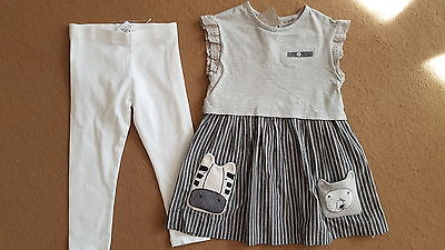 BNWT Next girls bear zebra dress and leggings set size 2-3 years