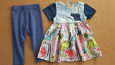 NEXT GIRLS DINO DRESS AND LEGGINGS SET size 9-12 months