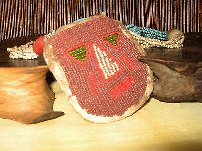 Amerindian beaded herb pouch - pre-1940 - nearly 5 metres of beading