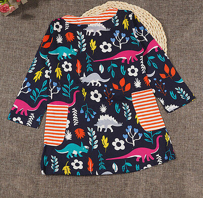 Baby girl dresses cotton hotchpotch Dinosaur print tunic top Kids' clothes