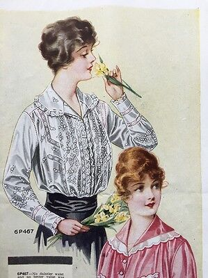 1916 Color Print Ad Edwardian Women's Styles In Dresses Antique Fashion