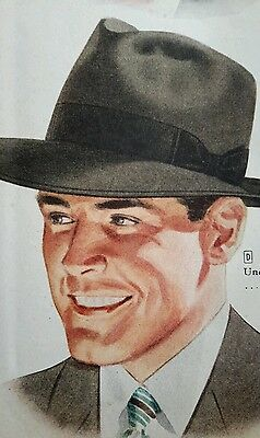 1947 vintage Fedora Hat men's 40's fashion style retro catalog page