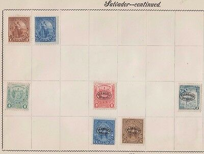Ls132 Extremely Early Stamps From El Salvador On Old Album Page