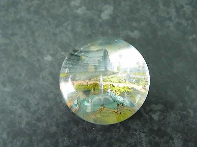 Vintage Heavy Glass Vintage Picture Paperweight - Crystal Palace