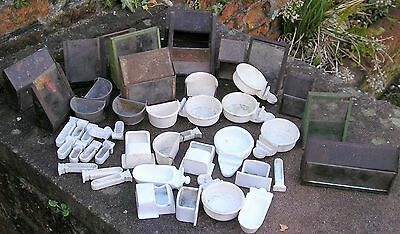 Vintage joblot canary budgie bird feeder water bowls re use resale Aviculture