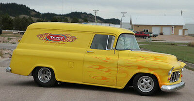 1955 Chevrolet Other Pickups Panel Truck 1955 Chevy Panel Truck, Yellow w/ Orange Flames & First-Class Condition