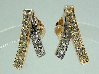 Pretty 14K Yellow White Gold Sparkly Diamond Look Neat Earrings
