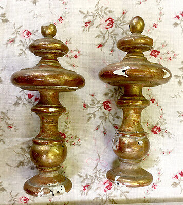 Pair of Antique French Dore Gilded Wood Curtain Pole Ends / Finials