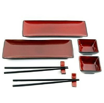 Gibson Amalfi 8-Piece Sushi Ceramic Dinnerware Set Red and Black Traditional