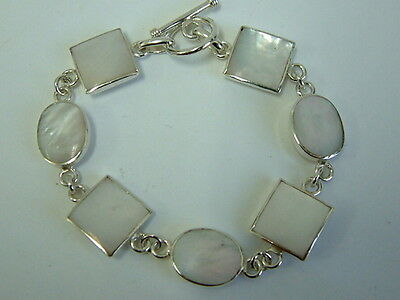 Stunning Solid Silver Chunky White Mother Of Pearl Ladies Bracelet