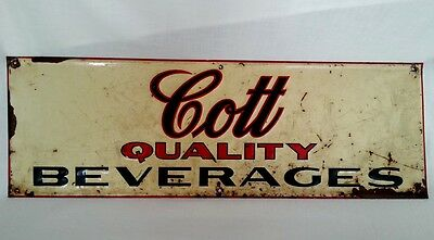 Vtg Cott Quality Beverages Hanging Wall Advertising Sign Embossed Metal1950's
