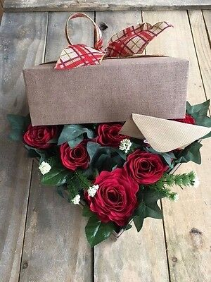Artificial Silk Red Rose Flower Box Bouquet Gift Present Bloom False Floral