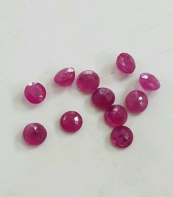 1.30  Carats Lot Of  Genuine Round Rubies   Loose Natural Stones
