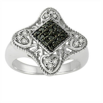 0.25cttw Black Round Diamonds Heart Shape in Sterling Ring (8)