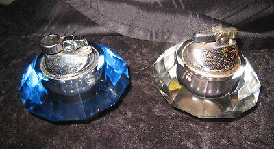 2 Glass Table Lighters.  Pale Blue & Clear.  Classic 1960's Design.