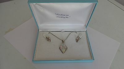 Mother of Pearl Sterling Silver Necklace and Earrings Set