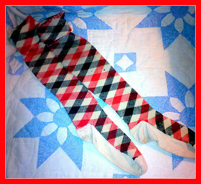 Vintage Wool Socks, Stockings, Great for Vintage Christmas Hearth decor Red Blue