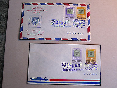 Dominican Republic 1965 Postal Centenary - 2 FDCs - different coloured cancels