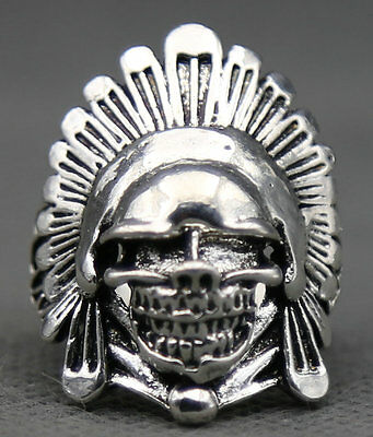 32MM Old Chinese Miao Silver Human Skeleton Head Egypt Pharaoh Fashion Men Ring