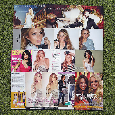 Lindsay Lohan - lot of Russian magazine clippings cuttings ads posters pack
