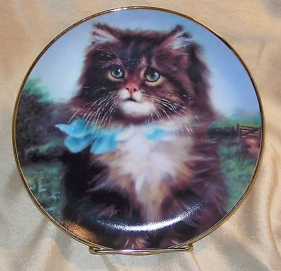 "Plate ~ Long Haired Kitten / Cat ~ Far From Home ~ by Adrienne Lester ~ 8"" Dia."