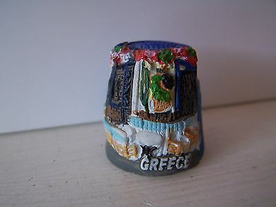 Greece, Cafe, Thimble, Pottery, Hand Painted, Topographical