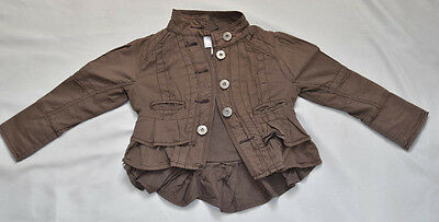 Next Girls Clothing Frilly Brown Coat 3-4 Years 104 cm