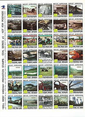 West Virginia Promotional Stamps Coal Series #1-----NOT FOR POSTAGE