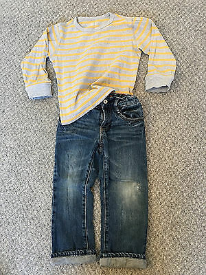 Gap Boys 4-5 Years Lined Jeans and Striped Top