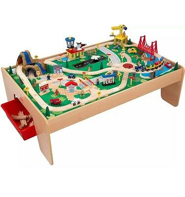 Wooden Train Set Table 120-Piece with 3 Bins  Pretend Play Toy 3 Years and Up =