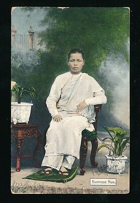 BURMA Burmese Nun Used 1911 PPC faults