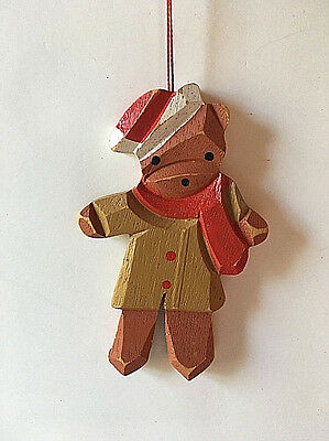 Cute Wooden Teddy Bear Christmas Tree Ornament Rustic Decoration 4.25""