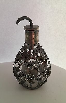 Antique Japanese 950 Sterling Silver Cherry Blossom Overlay Pinch Bottle