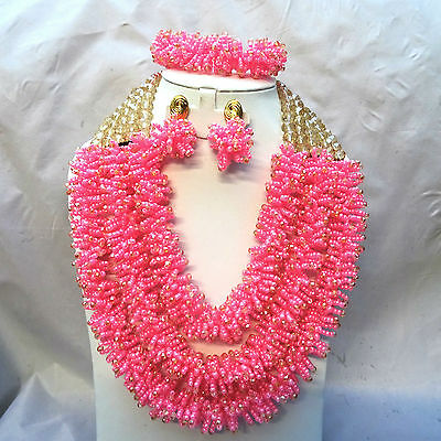 Gold Pink New Design African Nigerian Beads Party Jewellery Set