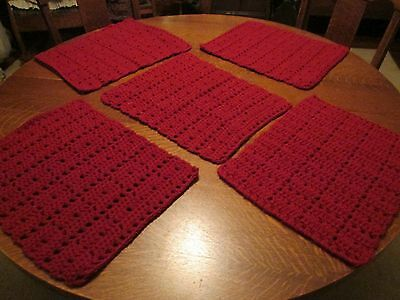 Set of 5 Hand Crocheted Burgundy Placemats/17 x 14""