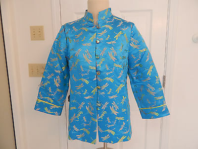 womens asian mandarin jacket kimono dragonfly 3/4 sleeve unique buttons  sz 12