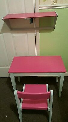 child's desk/ dressing table with matching chair and shelf