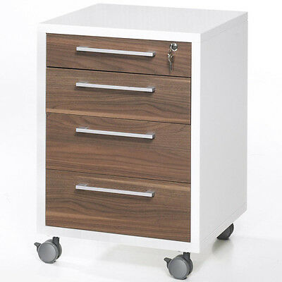 Mobile Lockable 4 Drawer File Table / Chest - White / Walnut IP804194958