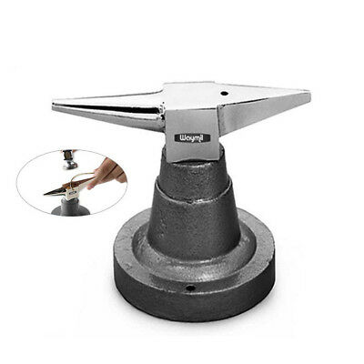 Bench Steel Double Horn Anvil W/ Base For All Purpose Jewelry Forming Metal Tool