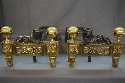 Antique Dore Bronze Andirons Chenets  With Lions 19th Century **1st BID WINS