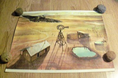 """Original Print """"A RANCH ON THE PLAIN"""" Painting By Peter Hurd, Artist (1904-1984)"""