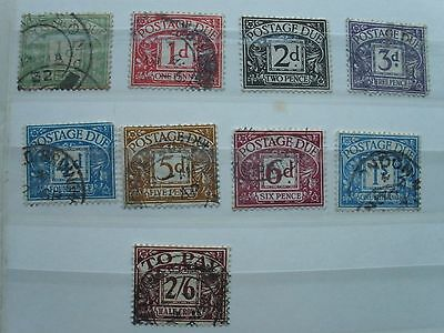Vintage UK Postage Due stamps various values x 9