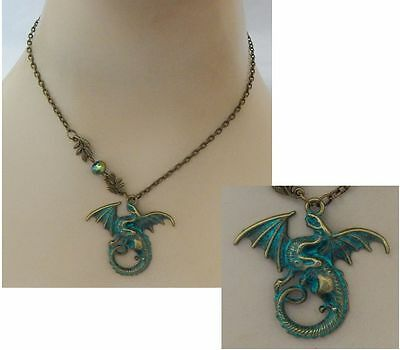 Gold & Green Celtic Dragon Pendant Necklace Jewelry Handmade NEW Adjustable