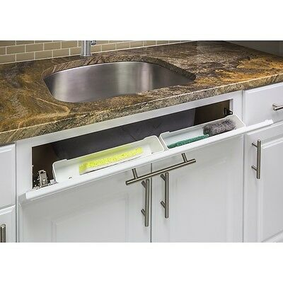 "14"" Kitchen Sink Cabinet Tip Out White Tray Tilt Out Sponge Holder - TO14S-REPL"