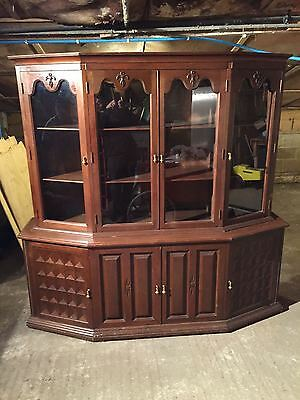 Large Mahogany Display Cabinet With Glazed Top Doors